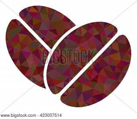 Low-poly Cacao Beans Combined From Random Filled Triangles. Triangle Cacao Beans Polygonal Icon Illu