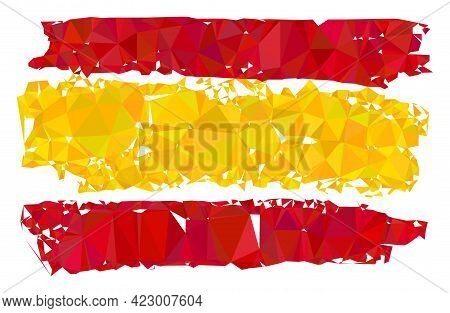 Low-poly Spain Flag Constructed With Scattered Filled Triangles. Triangle Spain Flag Polygonal 2d Il