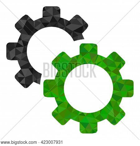 Low-poly Gears Constructed With Chaotic Filled Triangles. Triangle Gears Polygonal Symbol Illustrati