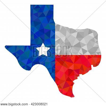 Low-poly Texas Map Logo Constructed With Scattered Filled Triangles. Triangle Texas Map Logo Polygon