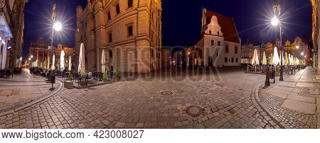Poznan. Panorama Of The Old Medieval Market At Night.