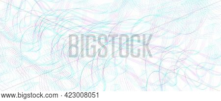 Teal, Purple Ripple Subtle Lines. Wavy Tangled, Squiggly Curves. Abstract Vector Background. Texture