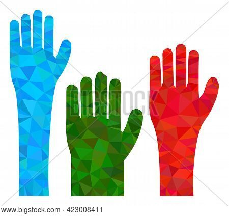 Low-poly Voting Hands Constructed With Random Filled Triangles. Triangle Voting Hands Polygonal Icon