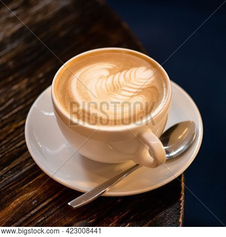 Coffee With Milk. Cappuccino With Creamy Foam. Rest Break From Business With Natural Energy Drink. F