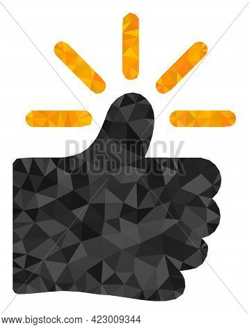 Low-poly Shining Thumb Constructed With Random Filled Triangles. Triangle Shining Thumb Polygonal Ic