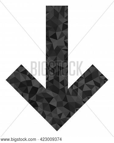 Low-poly Down Direction Arrow Combined Of Random Filled Triangles. Triangle Down Direction Arrow Pol