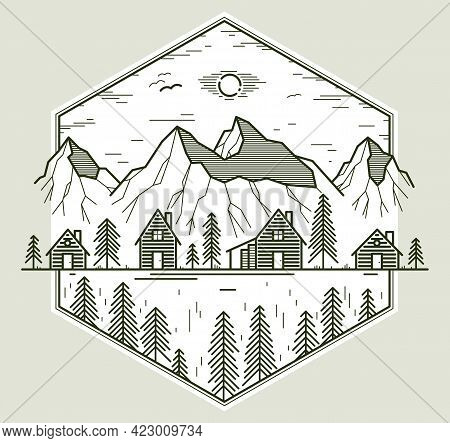 Rural Village In Mountains Range Linear Vector Emblem Isolated On White, Wooden Houses In Trees Fore
