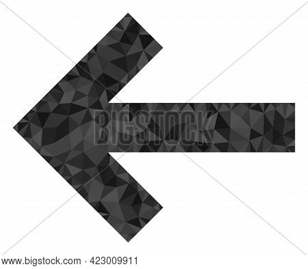 Low-poly Left Direction Arrow Constructed Of Chaotic Filled Triangles. Triangle Left Direction Arrow