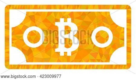Low-poly Bitcoin Bill Constructed From Randomized Filled Triangles. Triangle Bitcoin Bill Polygonal