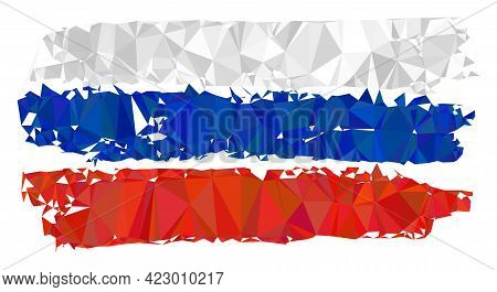 Low-poly Russia Flag Combined With Scattered Filled Triangles. Triangle Russia Flag Polygonal Icon I