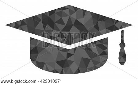 Low-poly Graduation Cap Combined With Randomized Filled Triangles. Triangle Graduation Cap Polygonal