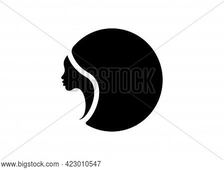 Logo Round Design African American Woman Face Profile. Women Profile Silhouette On The White Backgro