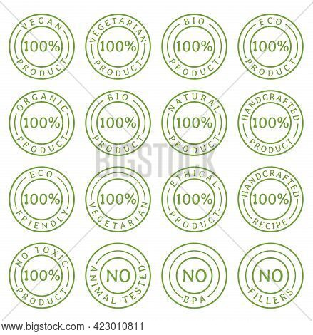 Natural And Organic Food Line Icons Set. Symbols Of Nutrients Are Common In Food Products Collection