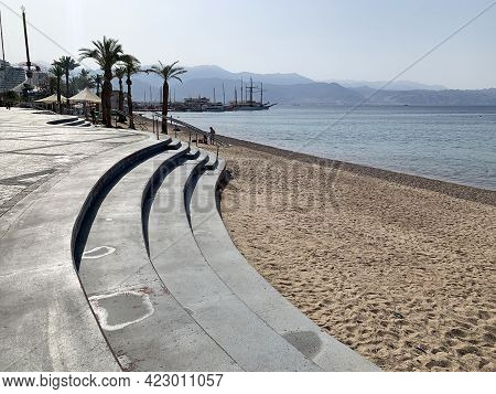 Embankment In The Resort Town Of Eilat In The Morning