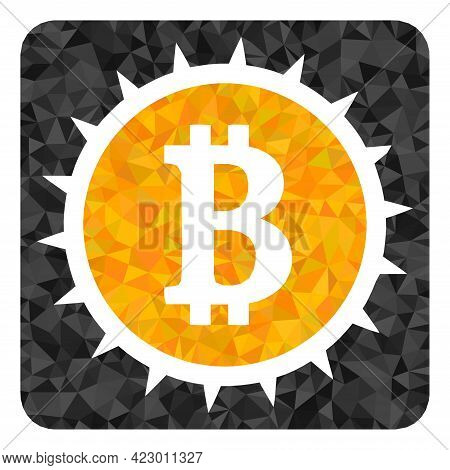Low-poly Bitcoin Box Constructed With Random Filled Triangles. Triangle Bitcoin Box Polygonal Symbol