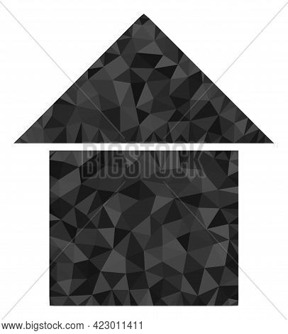 Low-poly House Constructed With Randomized Filled Triangles. Triangle House Polygonal Icon Illustrat