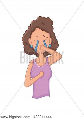 Women With Stress Symptom - Crying. Emotional Or Mental Health Problem, Stress. Cartoon Character Co