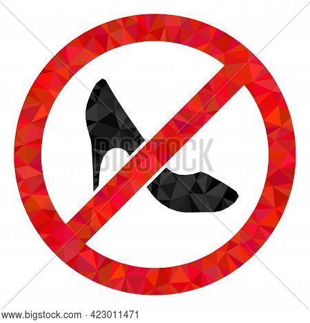 Low-poly Stop Lady Shoes Constructed With Scattered Filled Triangles. Triangle Stop Lady Shoes Polyg