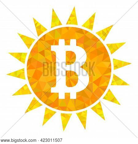 Low-poly Bitcoin Shine Constructed Of Random Filled Triangles. Triangle Bitcoin Shine Polygonal Icon