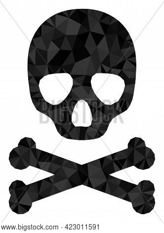 Low-poly Death Skull Combined With Random Filled Triangles. Triangle Death Skull Polygonal Icon Illu