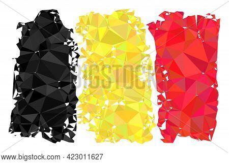 Low-poly Belgium Flag Designed With Random Filled Triangles. Triangle Belgium Flag Polygonal Icon Il