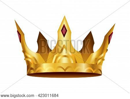 Realistic Golden Crown. Crowning Headdress For King Or Queen. Royal Noble Aristocrat Monarchy Symbol