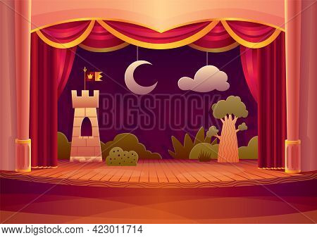 Theater Stage With Red Curtains And On Light. Vector Cartoon Illustration Of Theatre Interior With E