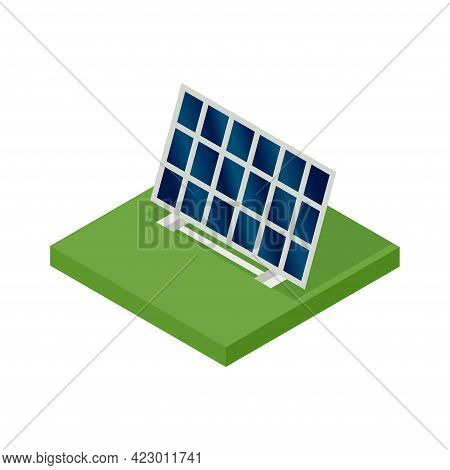 Isometric Solar Panel. Concept Of Clean Energy. Clean Ecological Power. Eco Renewable Electric Energ