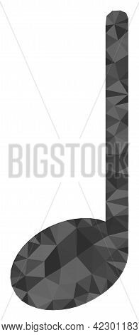 Low-poly Musical Note Designed From Chaotic Filled Triangles. Triangle Musical Note Polygonal Icon I