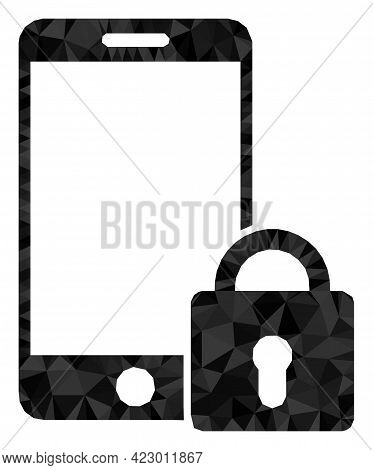 Low-poly Locked Smartphone Constructed From Chaotic Filled Triangles. Triangle Locked Smartphone Pol