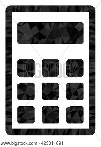 Low-poly Calculator Designed With Random Filled Triangles. Triangle Calculator Polygonal Icon Illust