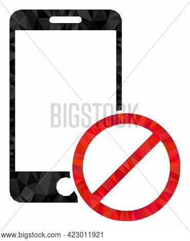Low-poly Deny Smartphone Designed Of Random Filled Triangles. Triangle Deny Smartphone Polygonal Sym