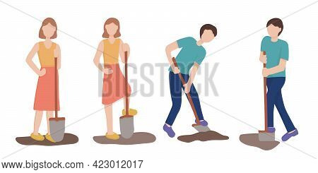 A Set Of Characters With A Shovel. Man Digging The Ground, Agricultural And Farm Work In The Vegetab