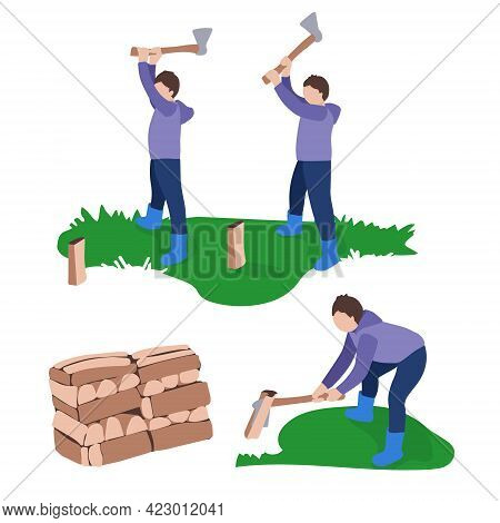 A Young Man Chopping Firewood. Making Firewood For The Winter. Help With Household Chores. Vector Fl
