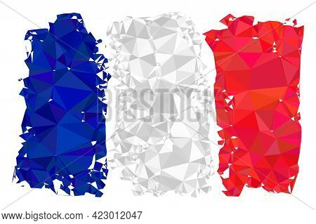 Low-poly France Flag Constructed With Random Filled Triangles. Triangle France Flag Polygonal Icon I