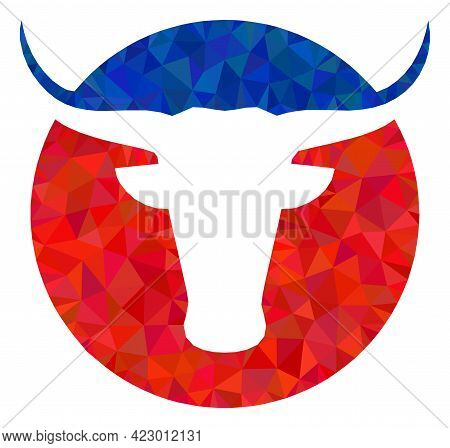 Low-poly American Cow Logo Designed With Chaotic Filled Triangles. Triangle American Cow Logo Polygo