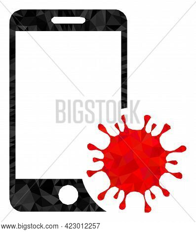 Low-poly Infected Smartphone Designed With Scattered Filled Triangles. Triangle Infected Smartphone