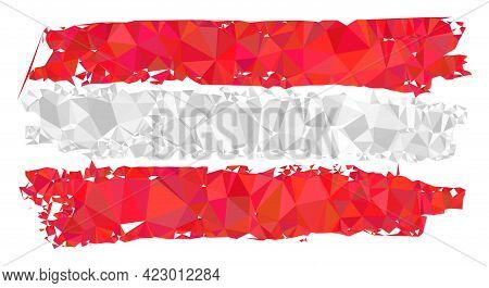 Low-poly Austria Flag Combined With Random Filled Triangles. Triangle Austria Flag Polygonal Symbol