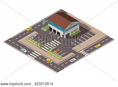 Isometric Auto Service. Car Service Top View Concept With Street And Parking Place. Repair Service T