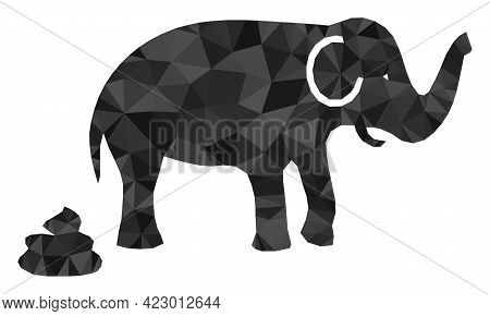 Low-poly Elephant Shit Constructed With Randomized Filled Triangles. Triangle Elephant Shit Polygona