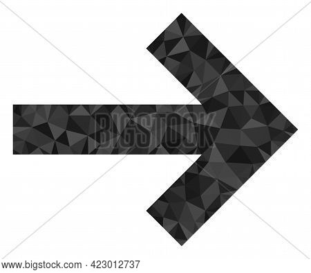 Low-poly Right Direction Arrow Combined With Scattered Filled Triangles. Triangle Right Direction Ar