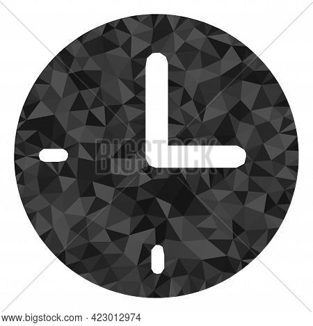 Low-poly Time Designed Of Randomized Filled Triangles. Triangle Time Polygonal Icon Illustration. Ti