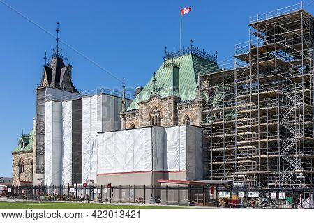 Ottawa, Canada - May 23, 2021: Parliament Building Reconstruction In The Capital Of Canada, Ottawa A