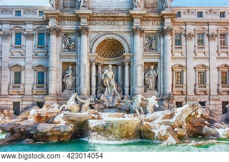 View Of The Trevi Fountain, Iconic Landmark In The City Centre Of Rome, Italy, And One Of The Most F