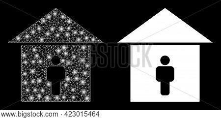 Glossy Mesh Vector Self Isolation With Glare Effect. White Mesh, Glare Spots On A Black Background W