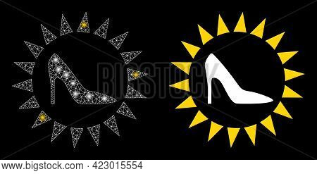 Glamour Mesh Vector Exclusive Ladies Shoes With Glare Effect. White Mesh, Light Spots On A Black Bac