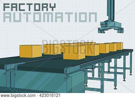 Automated Conveyor Line With Robotic Manipulator