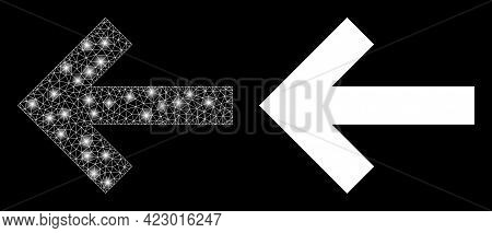 Glamour Mesh Vector Left Direction Arrow With Glare Effect. White Mesh, Glare Spots On A Black Backg