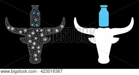 Bright Mesh Vector Cow Milk With Glare Effect. White Mesh, Glare Spots On A Black Background With Co