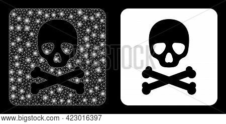 Glossy Mesh Vector Death Box With Glare Effect. White Mesh, Light Spots On A Black Background With D